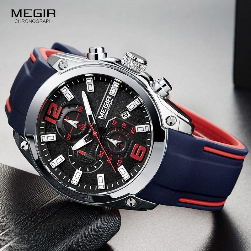 Megir Men's Chronograph Analog Quartz Watch with Date, Luminous Hands, Waterproof Silicone Rubber Strap Wristswatch for Man 2017