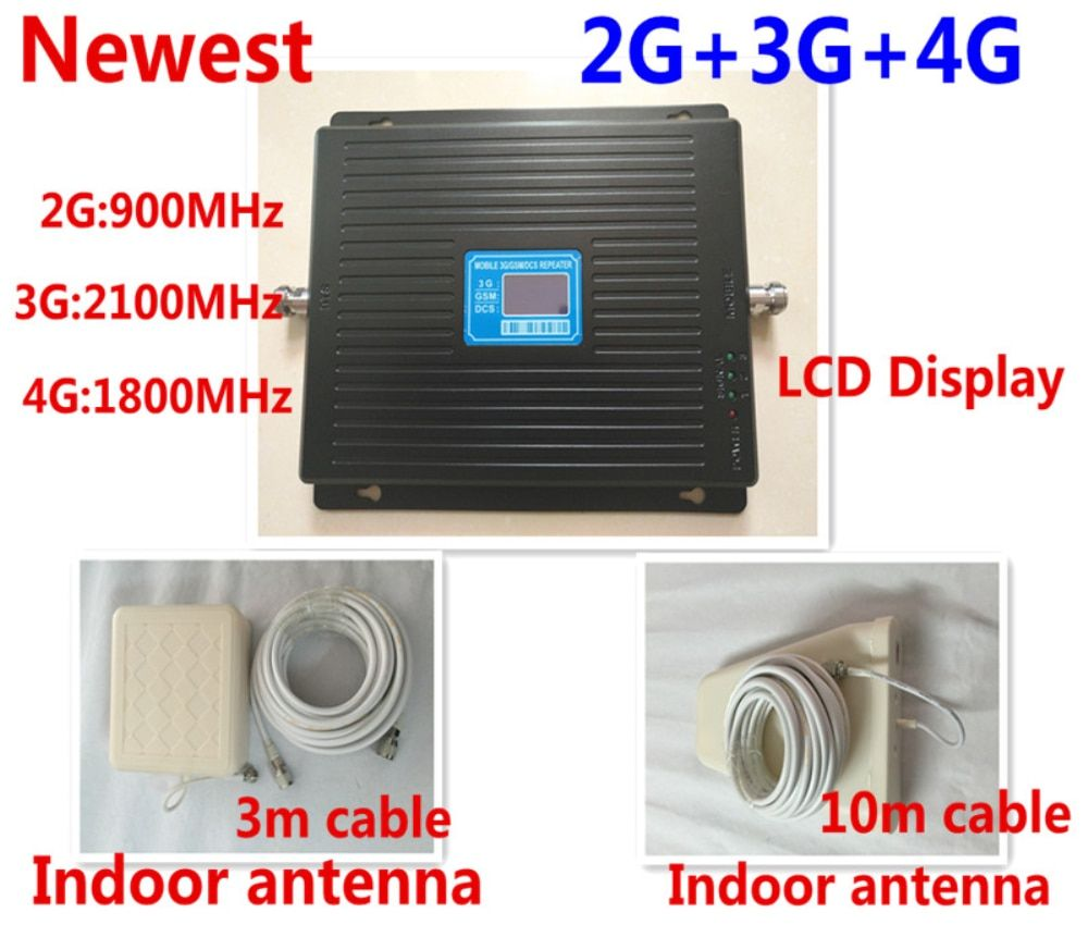 Newest Hot GSM 900mhz DCS 1800mhz WCDMA 2100mhz Repeater Tri Band Cellular Signal Booster UMTS 2G 3G 4G LTE 1800mhz Amplifier