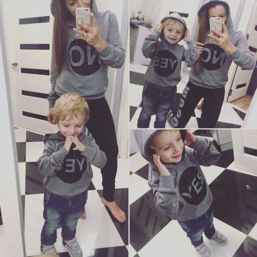 Модные зимние Семья любовь верхняя одежда мама сын Толстовки Одежда одинакового дизайна