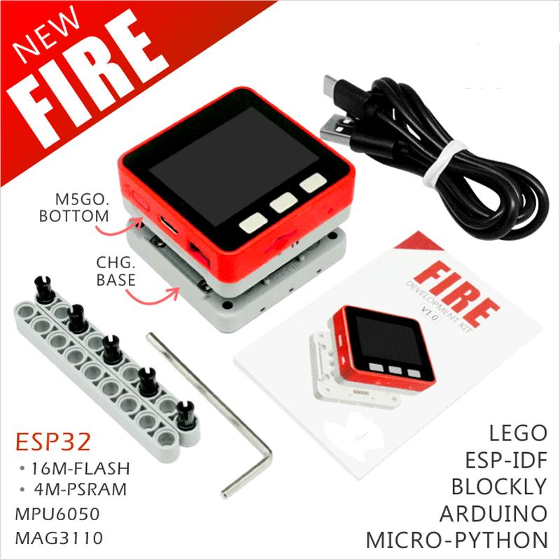 1set M5Stack M5GO FIRE kit 4M PSRAM+16M FLASH ESP32 for Arduino MicroPython Programming Development #Hbm0094