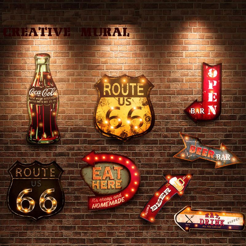 20 Styles Vintage lumière LED néon signes peinture décorative pour Bar Pub Restaurant café publicité signalisation suspendus signes en métal