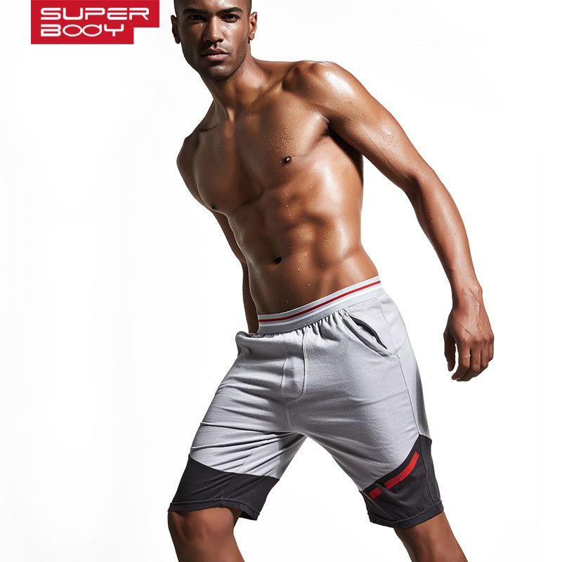 SUPERBODY brand clothing 100%cotton Men's Jogger Short Athletic Men's Sports Running shorts Gym Shorts Workout keen length short