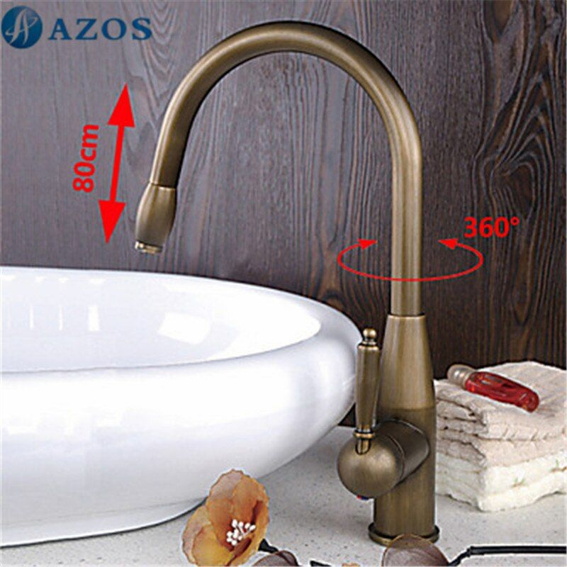 Kitchen Sink Faucets Swivel Hose Pull Out Down Spray Nickle Brass Antique Brass Deck Mounted Waterfall Mixers Furnitures CFLT420