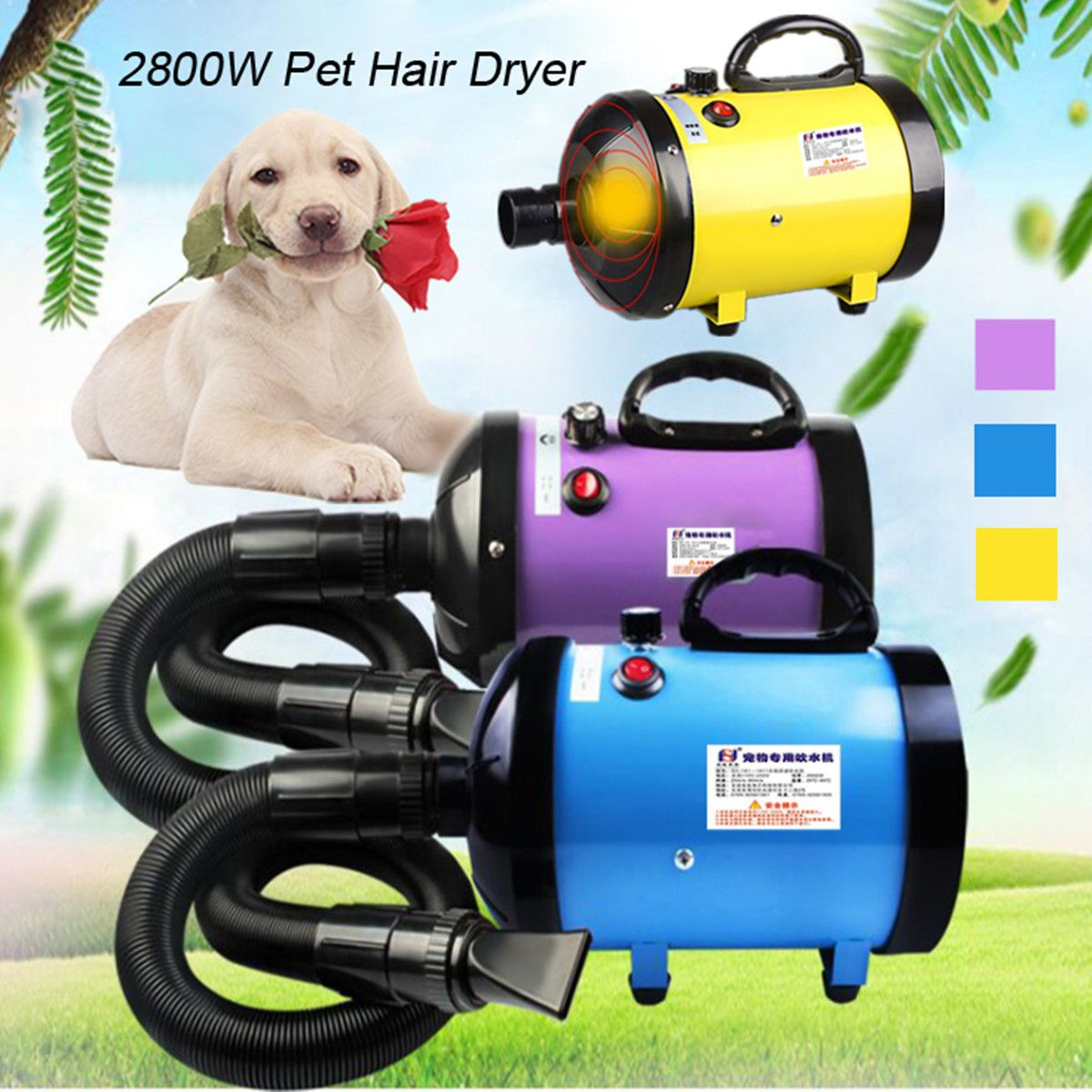2800W Low Noise Pet Hair Dryer Dog Cat Grooming Dryer Heater Adjustable Blower 220V~240V High Quality