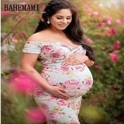 Robe de maternité Pour Photo Tir Bateau Cou impression Robe Maternty Photographie Soutiens À Court Manches Stretch Coton Enceintes Dres