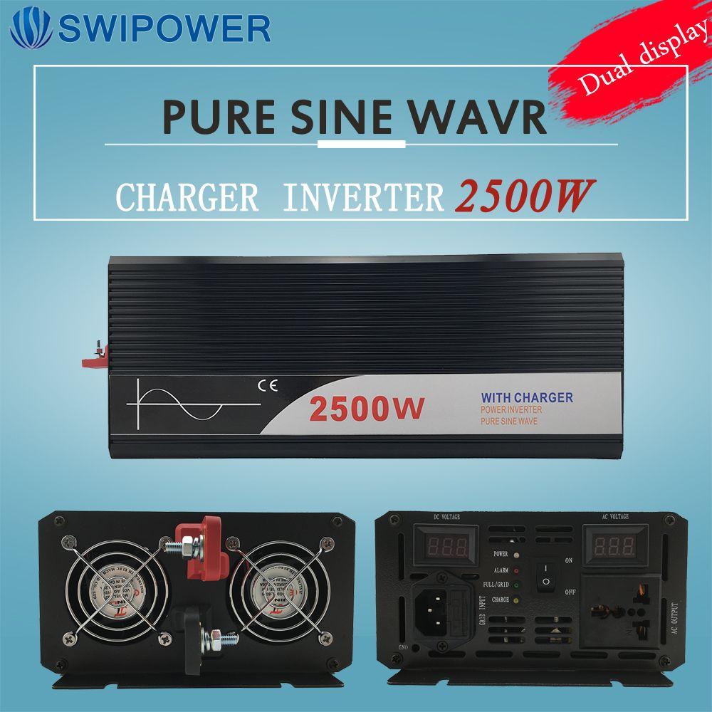 Ups inverter 2500 Watt reine sinus-wechselrichter mit ladegerät 12 V 24 V 48 v DC zu AC 220 V 230 V 240 v solar power wechselrichter