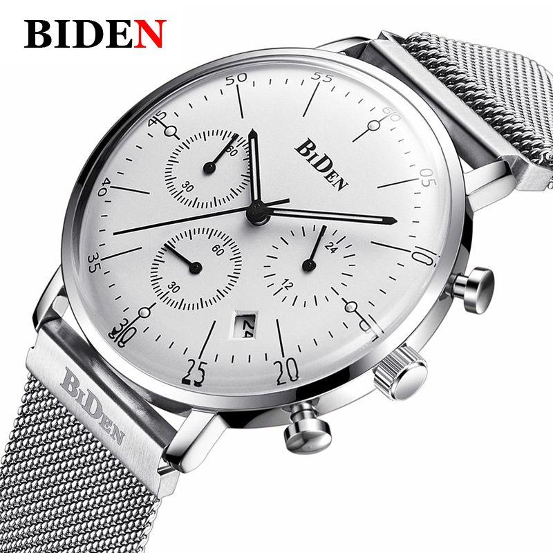 BIDEN Fashion Casual Top Brand Watch Men Luxury Stainless Steel Mesh Milanese Loop Strap Chronograp Men's Watches Women Watch