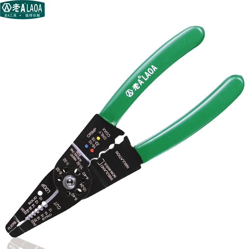 LAOA 8 Wire Stripping Pliers <font><b>Practical</b></font> Brand Multi-function Wire Crimping Tool high-carbon Steel Electric Tool