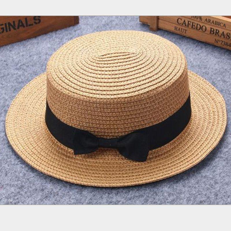 Enfant fille garçon adulte mâle femme été chapeau britannique rétro arc princesse curling paille chapeau dôme toit plat plage crème solaire 2mz53