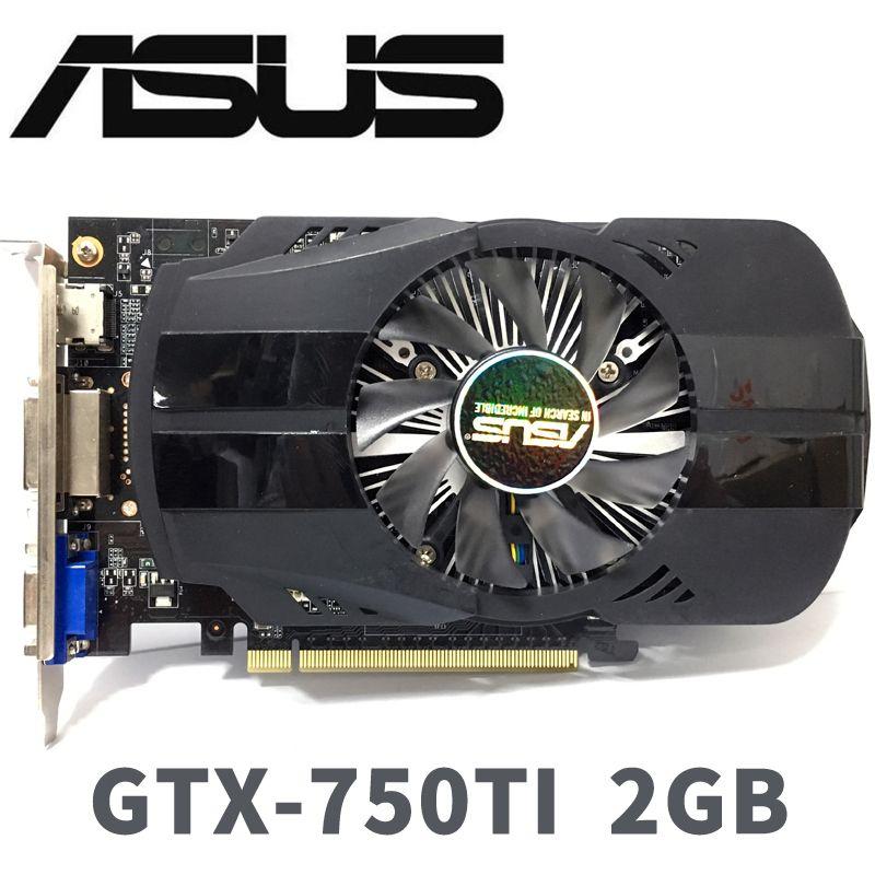 Asus GTX-750TI-OC-2GB GTX750TI GTX 750TI 2G D5 DDR5 128 bits cartes graphiques pc de bureau PCI Express 3.0 cartes graphiques d'ordinateur