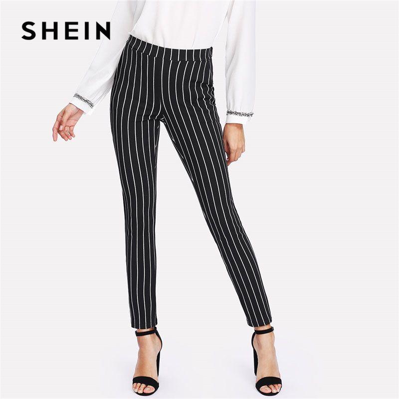 SHEIN Vertical Striped Skinny Pants Women Elastic Waist Pocket OL Style Work Trousers 2018 Spring Mid Waist Long Pencil Pants
