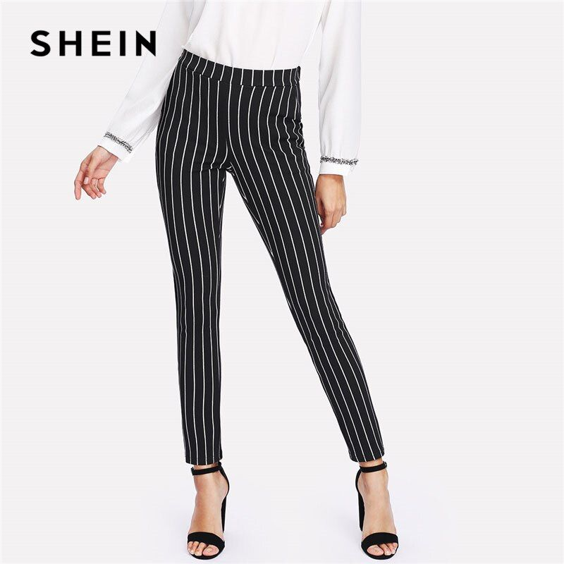 SHEIN Vertical Striped Skinny Pants Women Elastic Waist <font><b>Pocket</b></font> OL Style Work Trousers 2018 Spring Mid Waist Long Pencil Pants