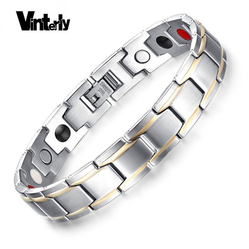 Vinterly chaîne à main pour hommes Bracelet couleur or énergie de guérison Bracelets magnétiques Germanium en acier inoxydable Bracelet pour hommes bijoux