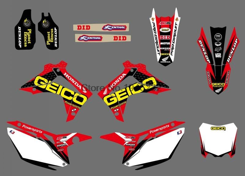 new style ( 0409) TEAM GRAPHICS DECALS FOR Honda CRF250R CRF250 2014-2016 &CRF450R CRF450 2013-2016