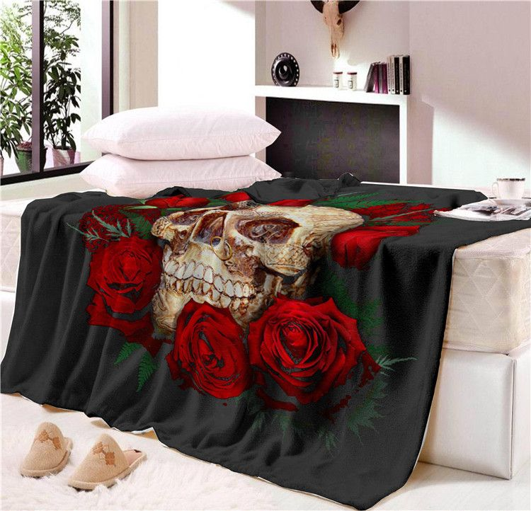 Nap blanket Super Soft Cozy Velvet Plush Throw Blanket Floral Skull Modern Line Art Sherpa Blanket for Couch Throw Travel CB68