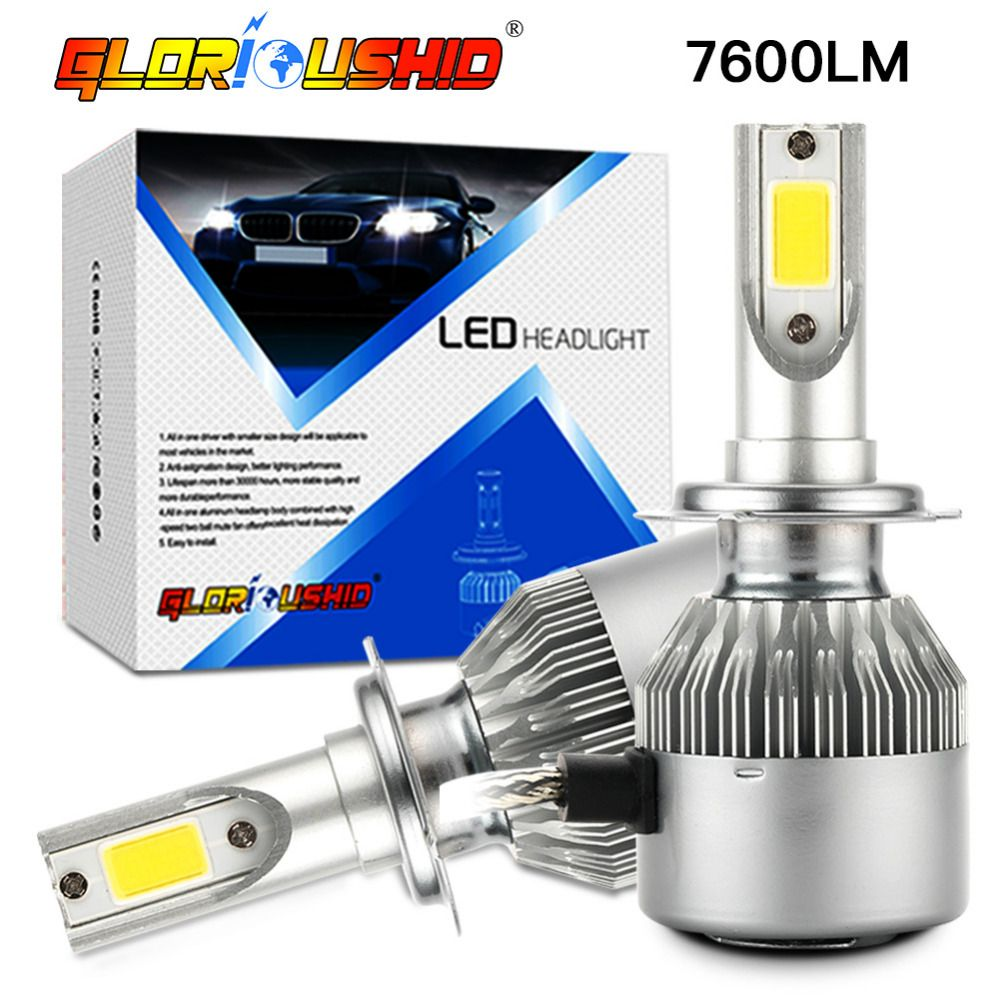 2pcs car headlight H7 Led H4 72W 7600lm 6000k H1 H3 H11 H8 H9 9005 HB3 9006 Auto Front light fog Bulb automobilelamp