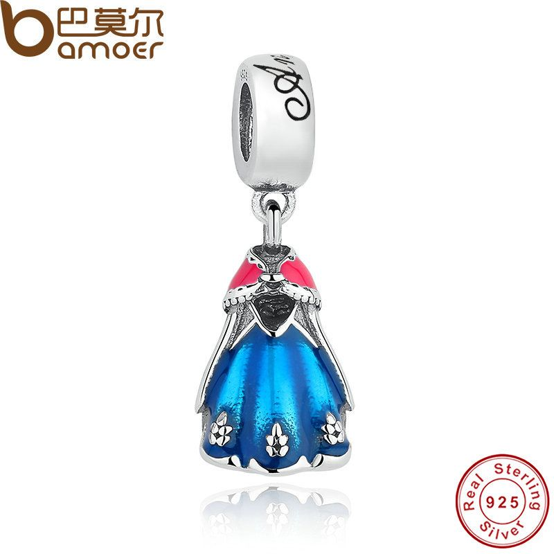 Original 925 Sterling Silver Anna's Blue & Red Dress DANGLE Pendant Fit Bracelet Necklace Jewelry Classic Story PAS158