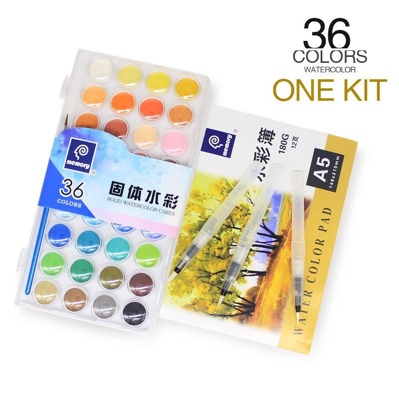 Marque de mémoire 36 couleurs voyage solide aquarelle peintures ensemble pour enfants Art eau couleur gâteau kit Plus carnet de croquis