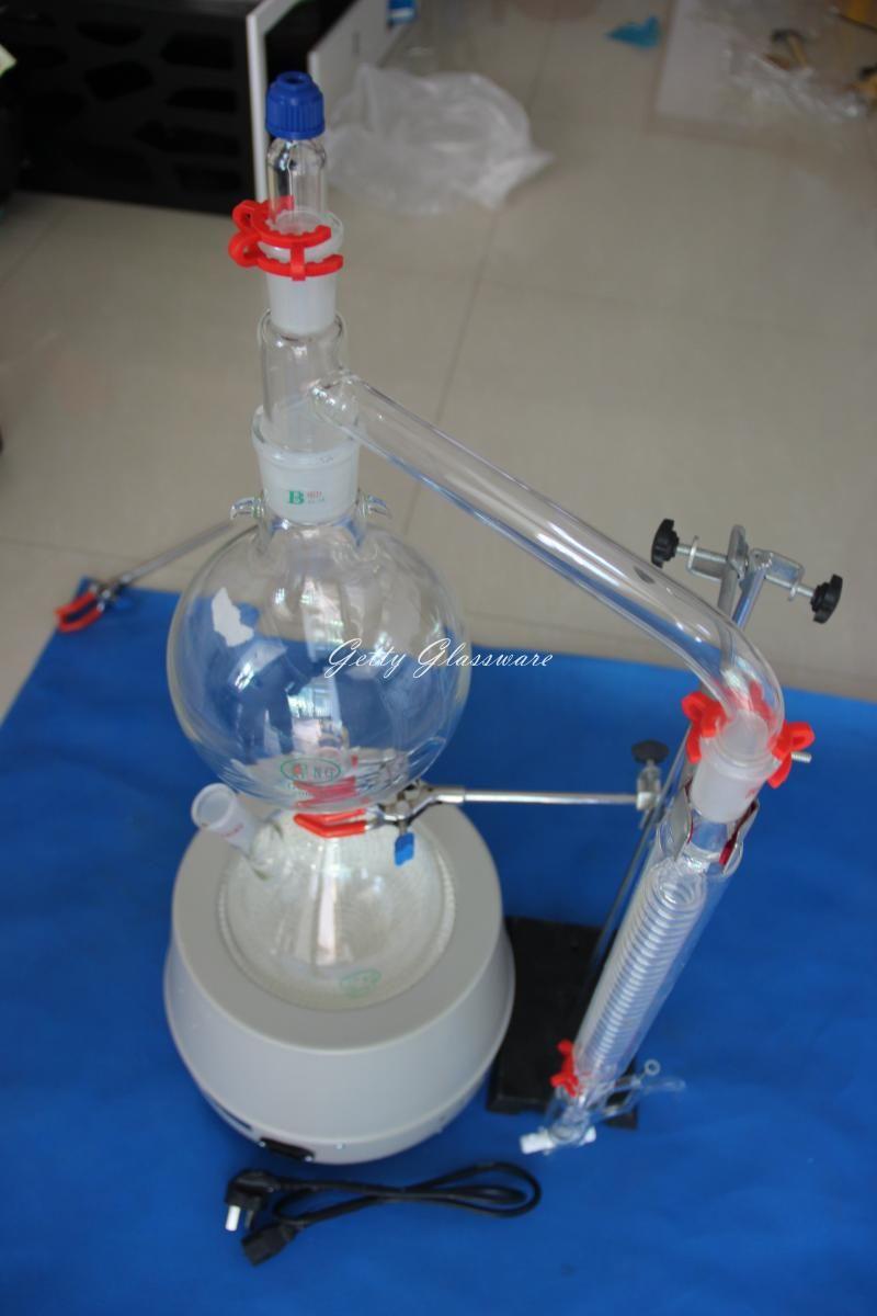 Ätherisches öl dampfdestillations destillation gerät, Ätherisches öl dampfdestillation kit mit 2000 ml heizmantel