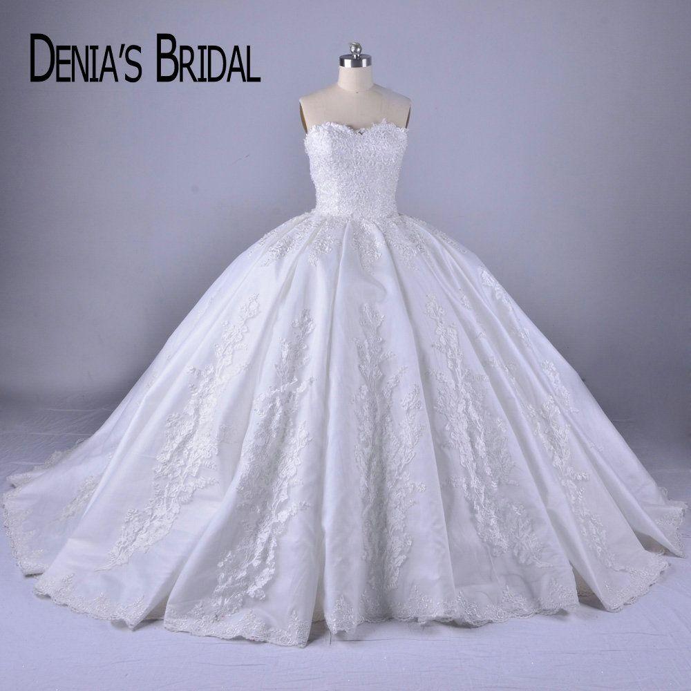 2018 Puffy Ballkleid Hochzeit Kleid-schatz-ausschnitt Perlen Applique Gericht Zug Brautkleider