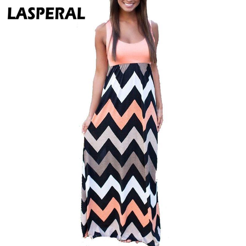 Lasperal 2017 mujeres verano estilo playa vestido largo vestido de moda de remiendo rayas impresión sexy Maxi sundress vestidos femeninos ropa