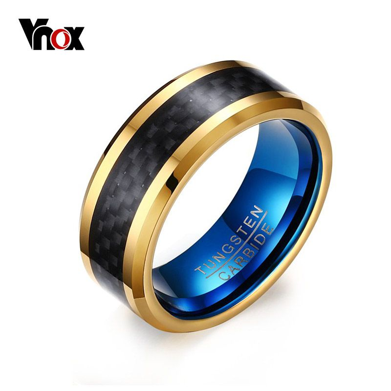 Vnox 8MM Blue Tungsten Carbide Rings for Men Jewelry with Black Carbon Fiber