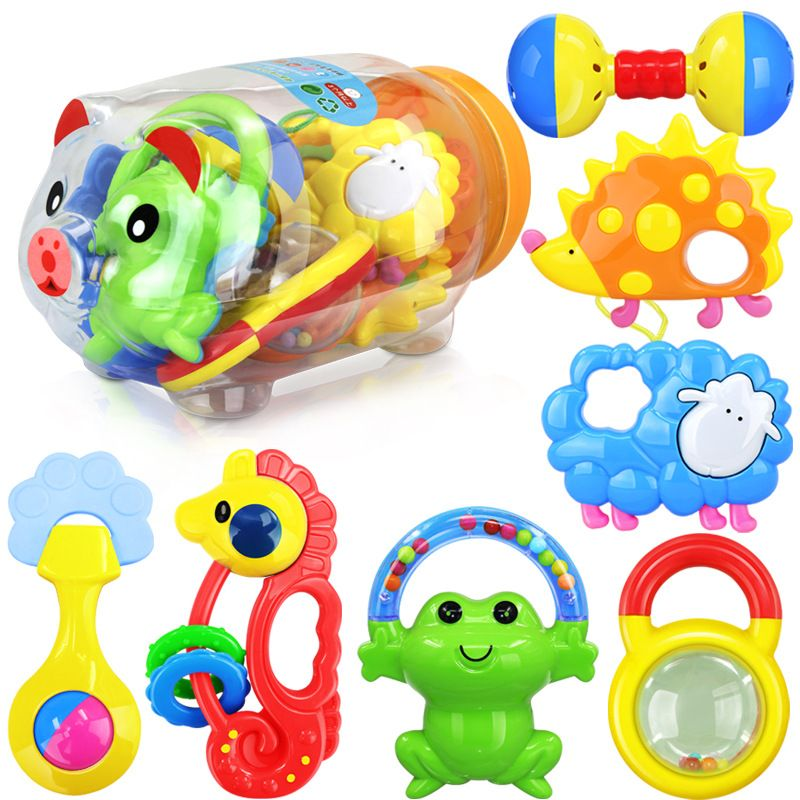 Baby Plastic Rattles And Teether Set 0-12 Months Baby Mobile Educational Toys For Newborns Gift Brinquedo 7PCS/SET In Piggy Tank