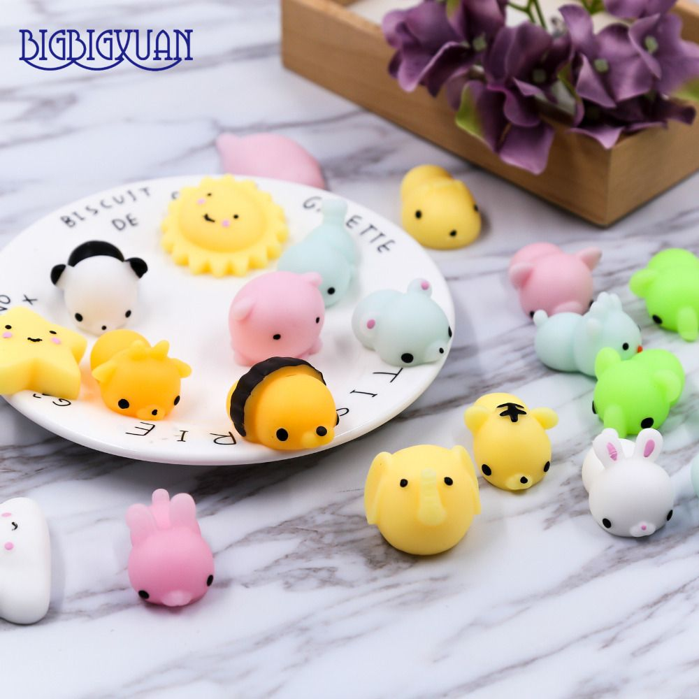 10Pcs Cute Squishy Animals Cell Phone Straps Toy Soft Decompression Squishy Rabbits Panda Cats Fox Hippo Seal Clouds Decoration