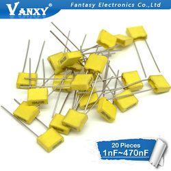 20 штук полипропиленовая защитная пленка Пластик пленка 100 V 1nF ~ 470nF 100nf 220nf 10nf 47nf 22nf 1nf 0,47 мкФ 0,1 мкФ конденсатор коррекции