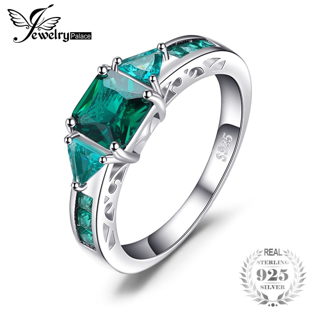 JewelryPalace Caved 1.3ct Nano Russian Simulated Emerald Statement Ring 925 Sterling Silvern Friendship Love Jewelry gift