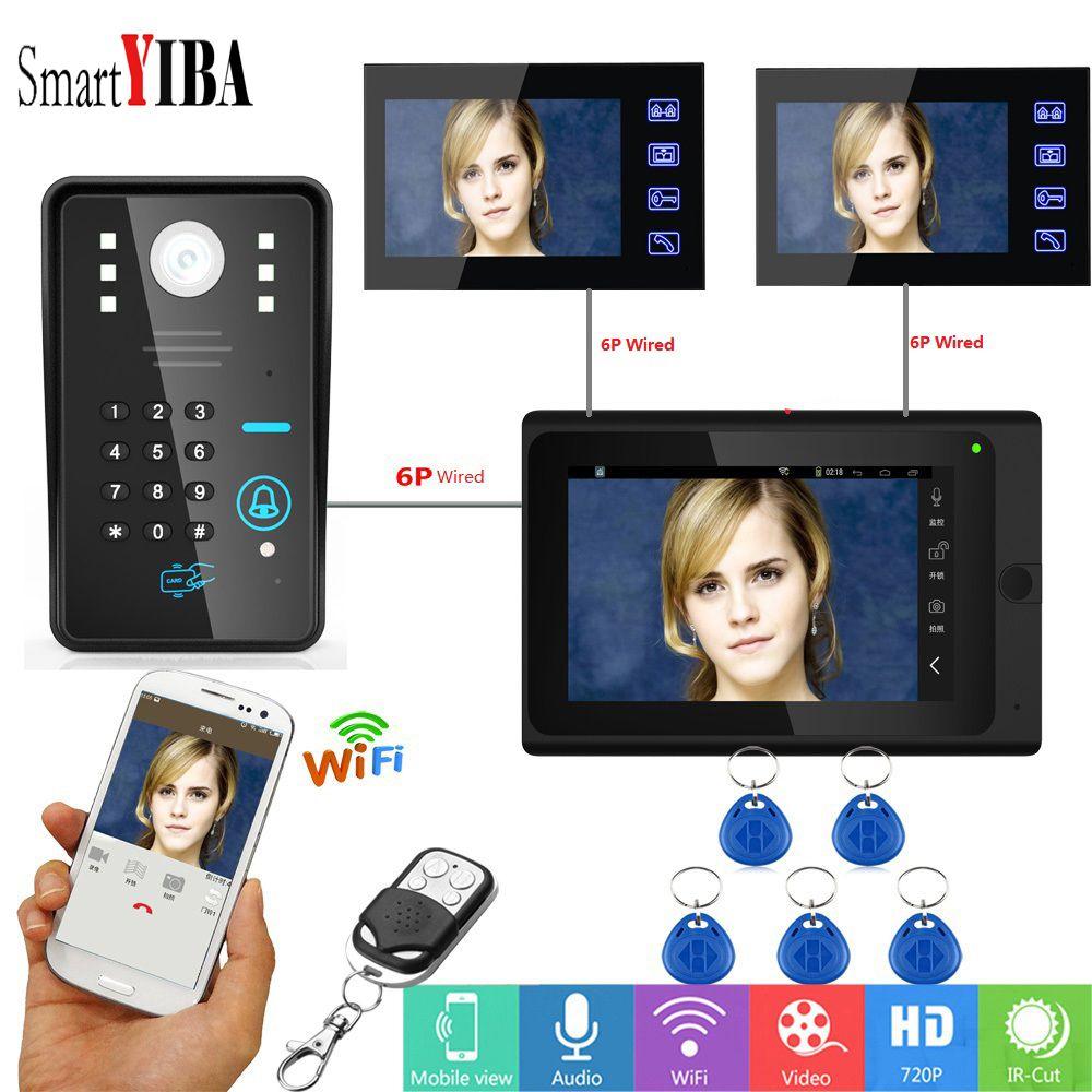 SmartYIBA 7 zoll WiFi Türklingel Kamera Passwort Video Intercom 3 Monitore Für Familien RFID APP Fernbedienung Video Tür Telefon
