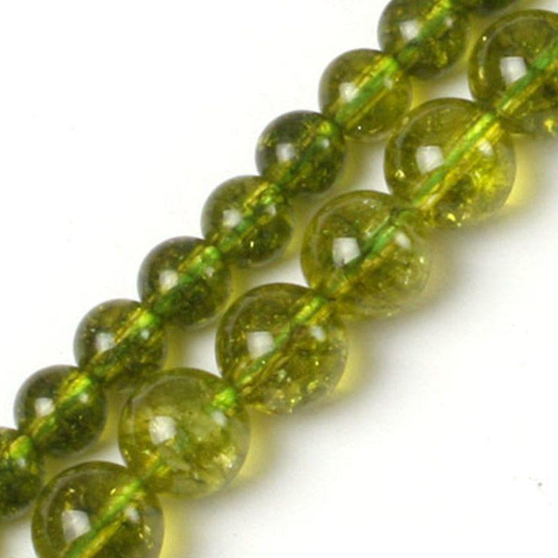 Gem-inside 6-8mm perles de péridot vert rond pour la fabrication de bijoux boucles d'oreilles collier bracelets pour femme cadeau 15 ''bricolage perles