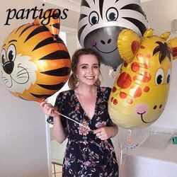 1 шт. джунгли животные, тигр, Лев Обезьяна зебра и жираф корова воздушные гелиевые шары для сафари декор для вечеринки в честь Дня рождения на...