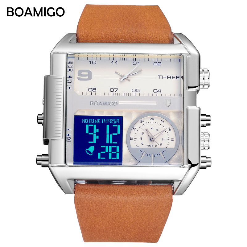 men 3 time zone watches BOAMIGO brand man sports digital analog watches leather rectangle wristwatches waterproof gift clock
