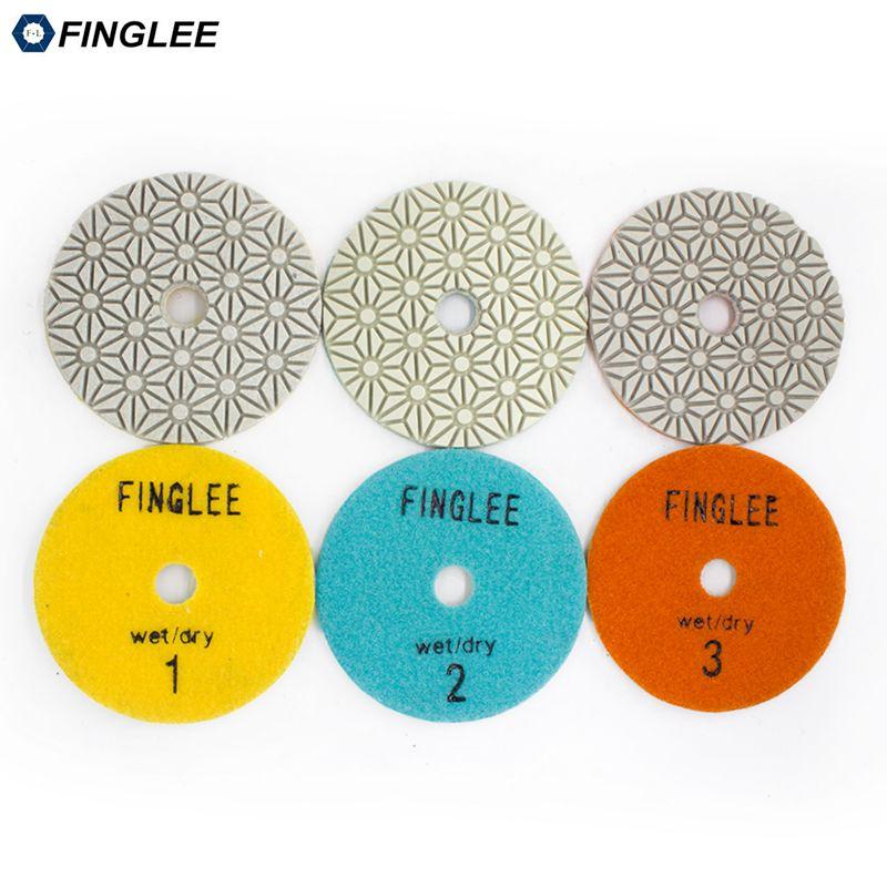 FINGLEE 3 Step Diamond Dry Polishing Pad  4 inch/100mm Diamond Resin discs for Granite Marble Quartz