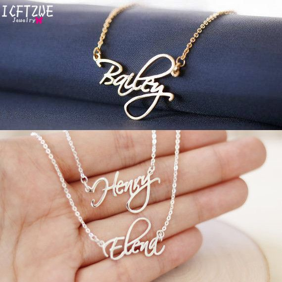 Personalized Jewelry Script Font Cursive Name Necklaces Women Men Silver Gold Rose Choker Necklace BFF Wedding Bridesmaid Gift