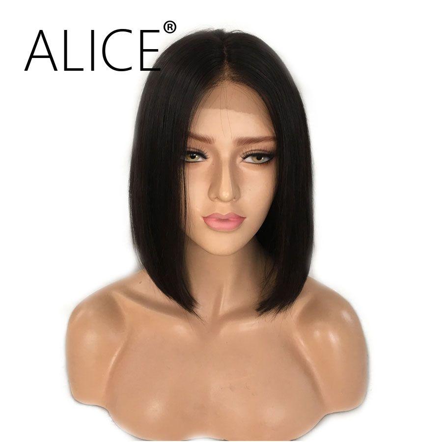 ALICE Courte Bob Avant de Lacet Perruques Avec Des Cheveux de Bébé 8-16 Pouce droite Brésilienne Remy Cheveux Perruques Pour Les Femmes Noires Avec Les Noeuds Blanchis