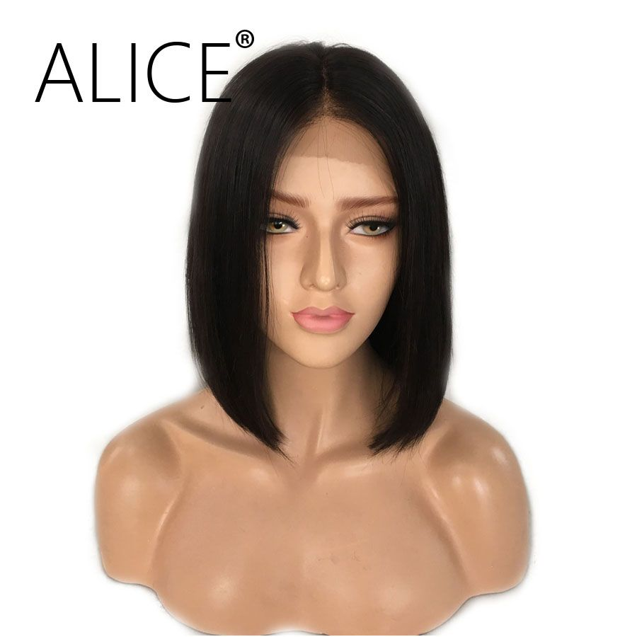 ALICE Short Bob Lace Front Wigs With Baby Hair 8-16 Inch Straight Brazilian Remy Hair Wigs For All Women With Bleached Knots