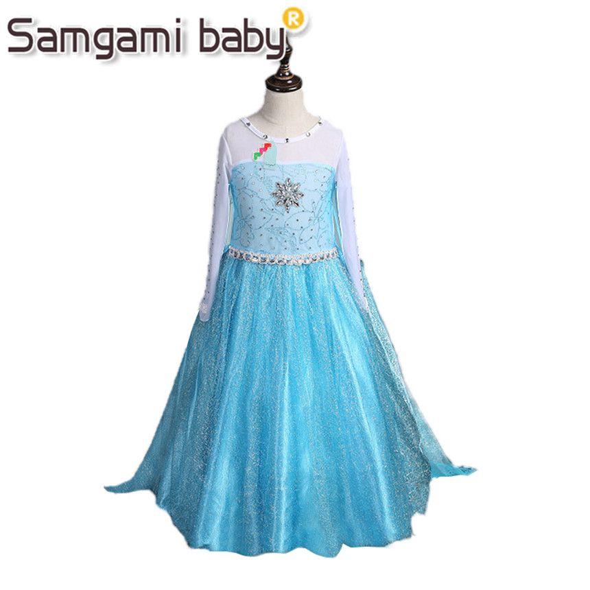 SAMGAMI bébé 2018 été Style fille robe princesse Elsa robe enfants Halloween reine des neiges Cosplay Costume bébé bambin enfants