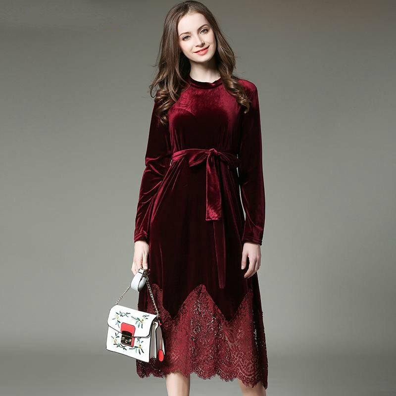 2017 New Autumn Winter Dress Women Plus Size Velvet Lace Stitching Long Vintage Elegant Robe Elbise Office Casual Dress