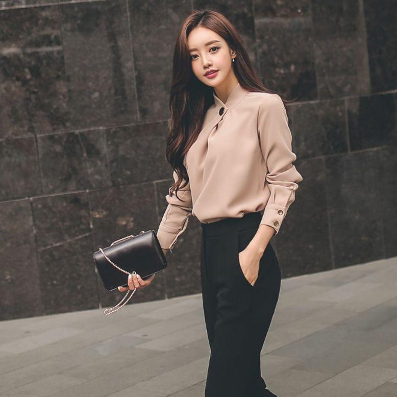 2019 été femmes costume bureau partie Sexy moulante Vestidos mode Slim en mousseline de soie chemise hauts et noir pantalon droit 2 pièce ensemble