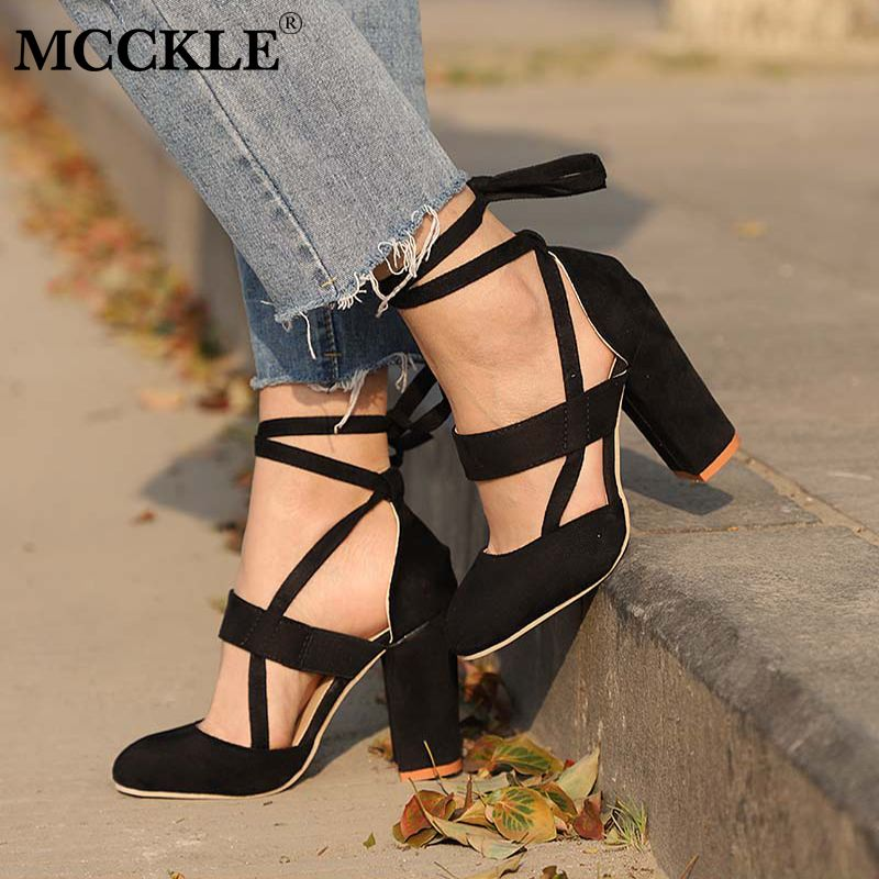 MCCKLE Female Fashion Ankle Strap Two Piece Black Chunky Heel High Heels 2018 Women's Comfortable Pumps Ladies Plus Size Shoes