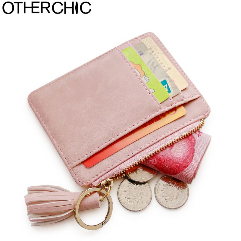 OTHERCHIC Nubuck Leather Mini Tassel Women Card Holder Cute ID Key Card Holders Girl's Fringe Change Coin Purse Keychain 7N02-08