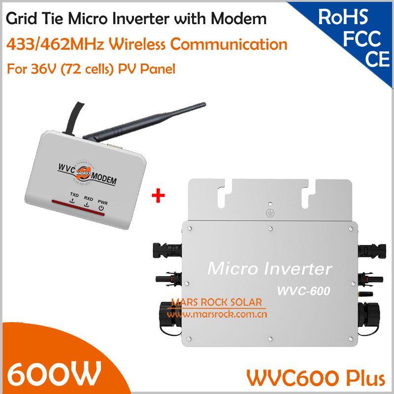 Wasserdichte 600 Watt Mikro-wechselrichter mit modom DC22-50V Breite Eingang zu AC80-160V/180-260 V Hohe Effizienz MPPT Rasterfeldriegelinverter