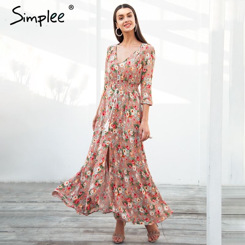 Simplee Boho chic maxi summer dress women Elastic causal button beach long dress female Spring print vestidos dress robe femme