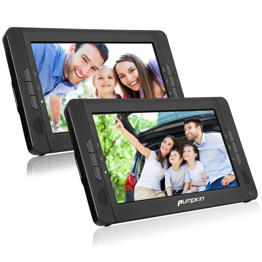 Pumpkin 10.1'' Portable Car Headrest DVD Player HD Dual Screen Car Monitor Support Share DVD AVIN/Out Function Built-in Speaker