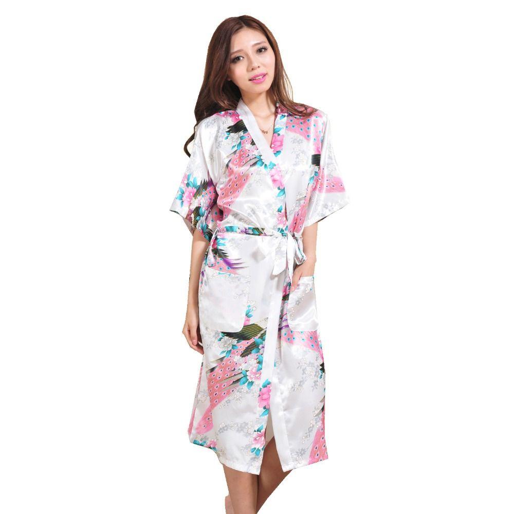 Femmes soie Satin Long mariage mariée demoiselle d'honneur Robe paon Peignoir Floral Kimono Robe grande taille Robe de chambre Peignoir Femme