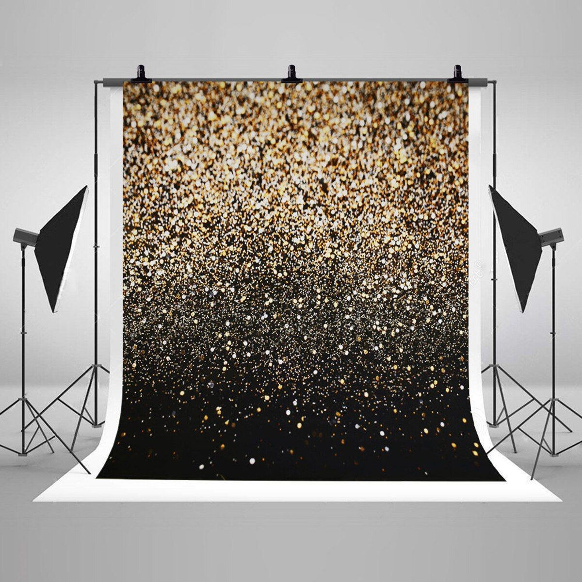 Vinyl Glitter Black Gold Dots Photography Backdrop Background Cloth Studio Photo Booth Props Party Events Decorations Supplies
