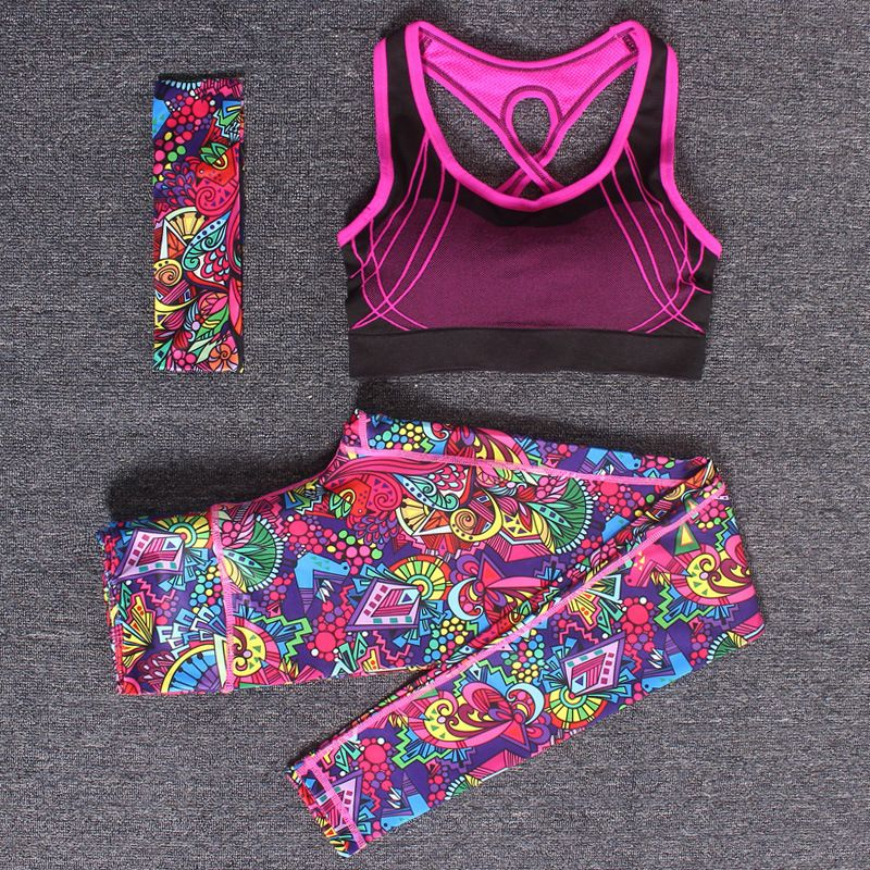 Women Yoga Fitness Sports Sets Gym Workout Sportswear 3pcs/Set Tracksuits Headband+Bra+Printed Yoga <font><b>Pants</b></font> Sport Leggings Suits