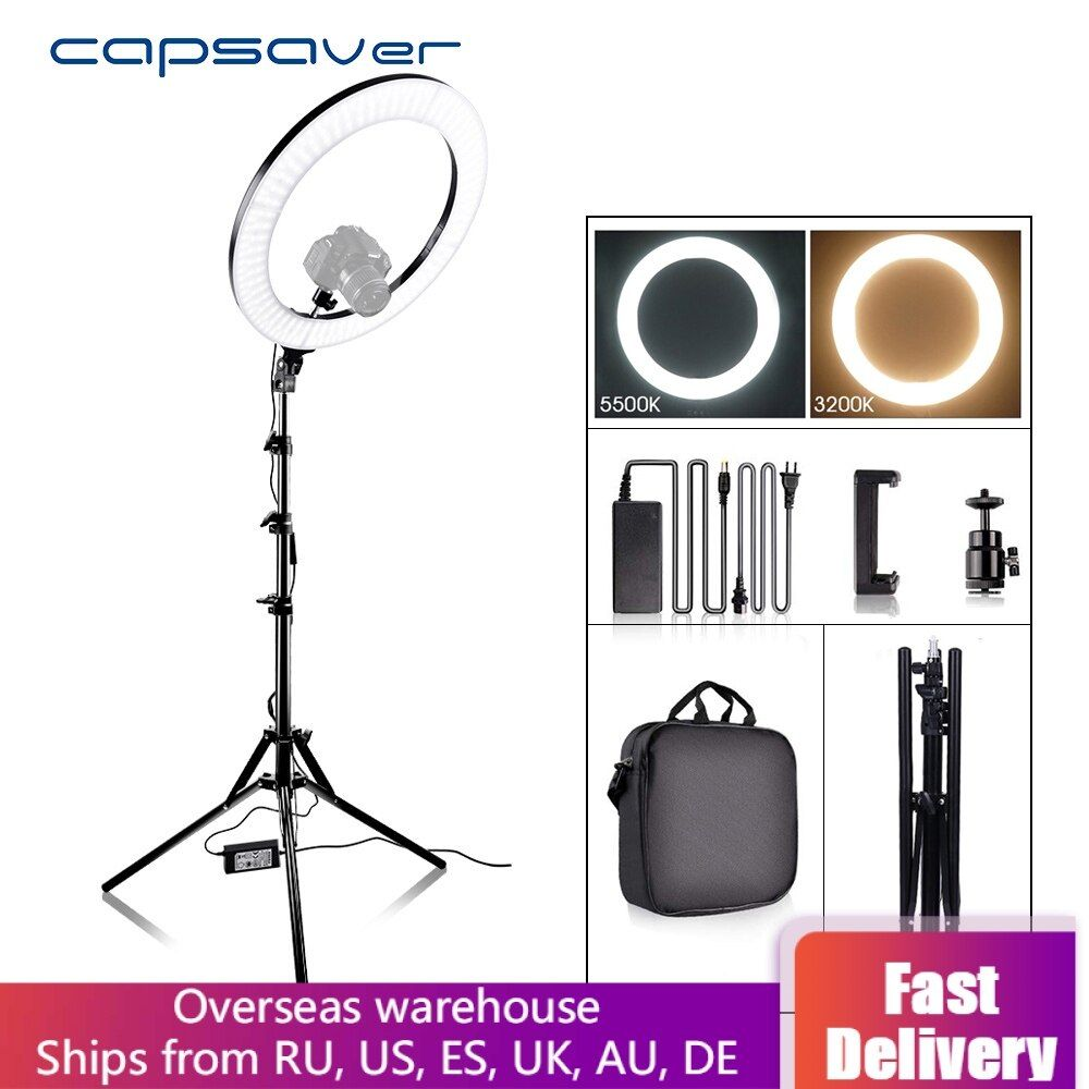 Capsaver RL-18A LED anneau lumière bicolore 3200 K-5500 K CRI90 55W 512 LED s 18